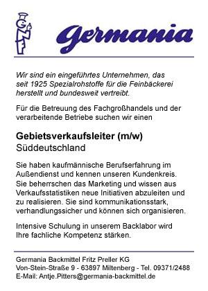 Germania sucht Gebietsverkaufsleiter