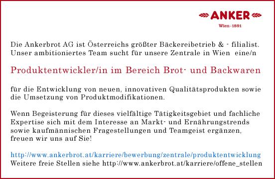 Ankerbrot AG sucht Verstärkung in der Produktentwicklung - Bewerben Sie sich jetzt!