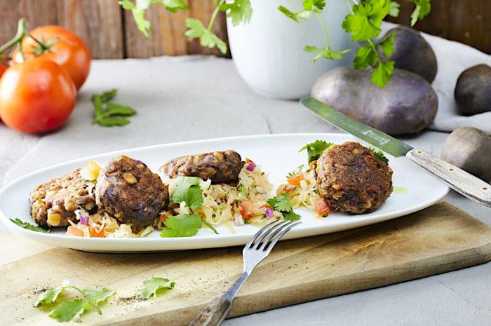 Kartoffel-Falafel mit Sauerkraut-Salsa